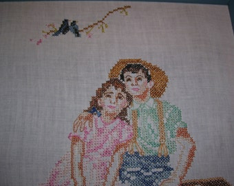 Norman Rockwell Cross Stitch Childhood Memories Framed Vintage
