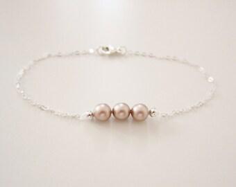 Silver Pearl Bracelet, Silver Bracelet, Bridesmaids Bracelet