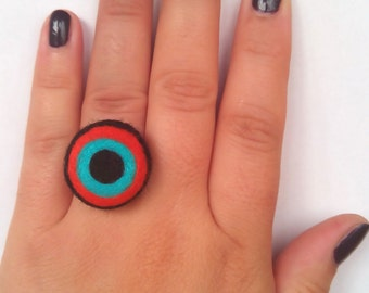 Felted Ring - Flash of colors - Felted Jewelry