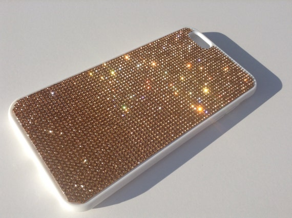 iPhone 6 Plus / 6s Plus Rose Gold Rhinestone Crystals on White Rubber Case. Velvet/Silk Pouch Bag Included, Genuine Rangsee Crystal Cases