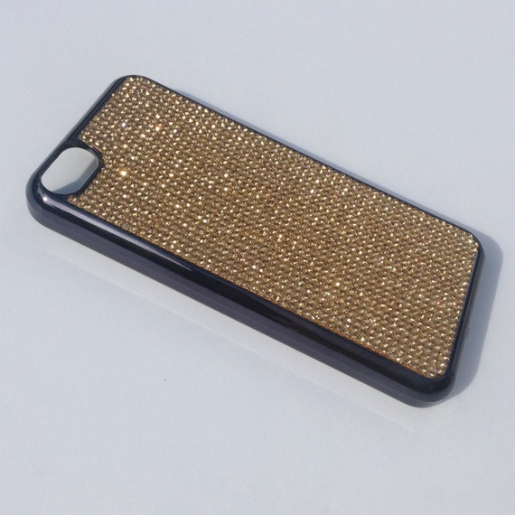 iPhone 5C Gold Topaz Rhinestone Crystals on Black Chrome Case. Velvet/Silk Pouch Bag Included, Genuine Rangsee Crystal Cases.