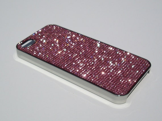 iPhone 5 / 5s / 5se  Pink Diamond Rhinestone Crystals on Silver Chrome  Case. Velvet/Silk Pouch Bag Included, Genuine Rangsee Crystal Cases.