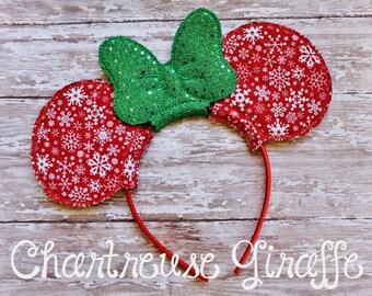 Snowflake Christmas Minnie Mouse inspired Ears Headband
