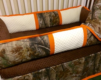 Custom Baby Bedding- RealTree Camo 4pc Boys Crib Set with orange trim
