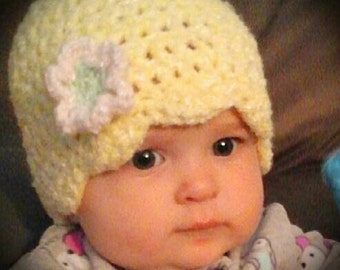 Adorable Crocheted Yellow Hat with Flower (6-9 months)