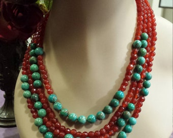 four strand carnelian and turquoise necklace