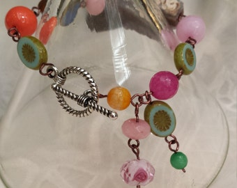 bracelet with assorted faceted stones