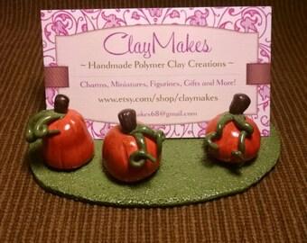 Pumpkin business card holder polymer clay handmade,