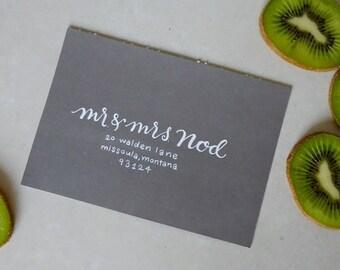 NOD STYLE- Custom Hand Lettering Wedding Invitation Envelope Addressing