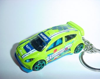 3D Ford Fiesta racer custom keychain by Brian Thornton keyring key chain finished in green color trim rally race