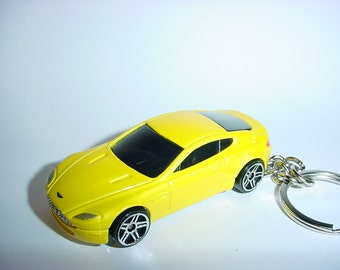 3D Aston Martin V8 Vantage custom keychain by Brian Thornton keyring key chain finished in yellow color trim