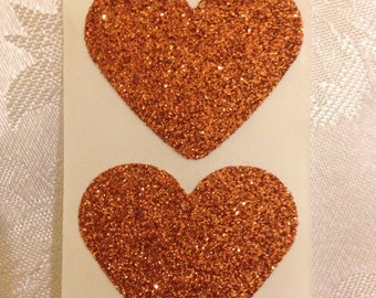 Heart Seals - Large Sparkly Glamour Copper Glitter Heart Envelope Seals For Wedding And Events - Sweet Love stickers x 25
