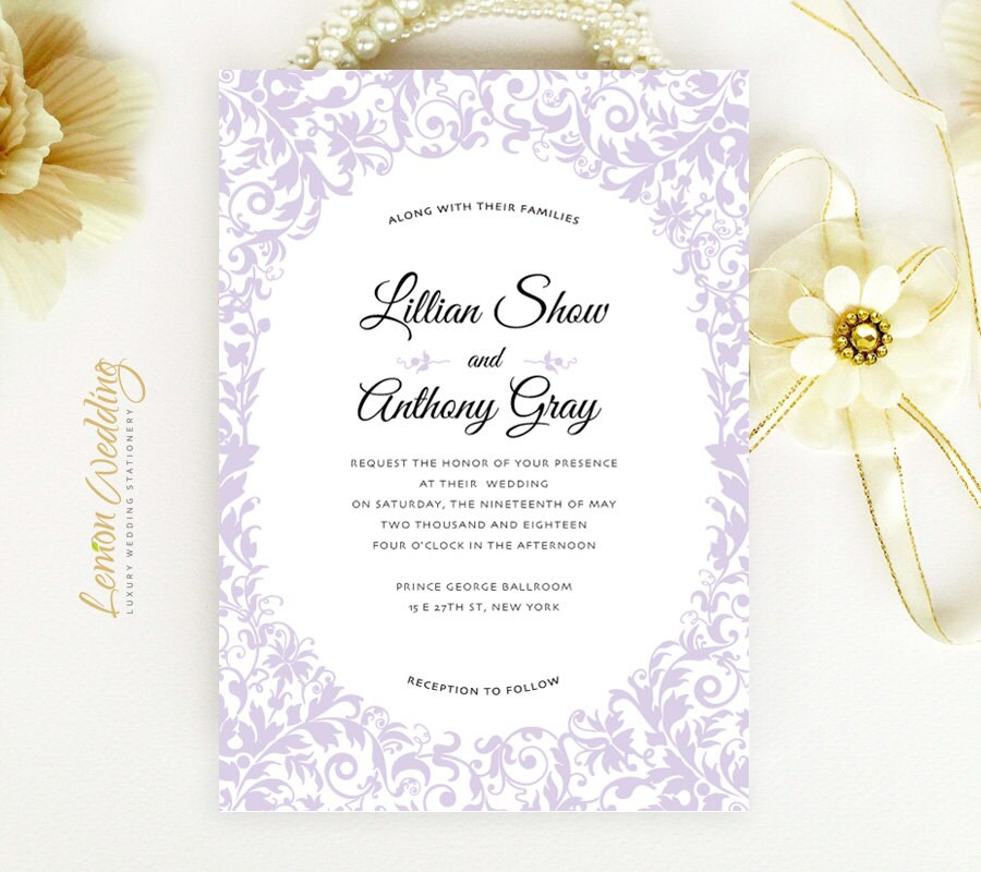 Purple Wedding Invitations With RSVP Cards Printed By