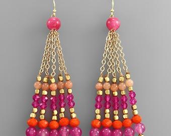 Pink Gemstone Tassel Necklace