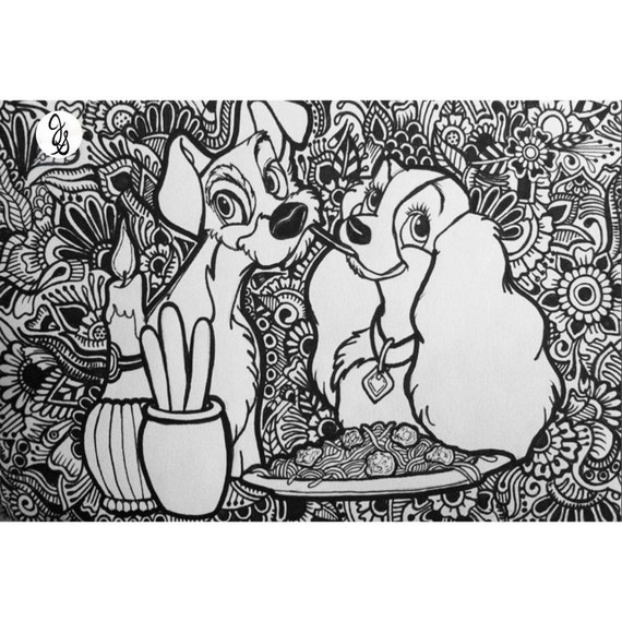 Lady And The Tramp Coloring Books: Lady And The Tramp Design