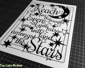 Reach For The Moon - quote template for paper cutting - Personal And Commercial Use PDF