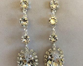 Swarovski Clear Crystal Dangle Earrings, wedding earrings, bridal earrings, teardrops, bridesmaid earrings, bridesmaid gift, diamond cut