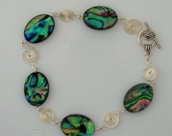 Abalone shell wire wrapped bracelet