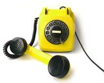 Vintage yellow telephone, vintage phone, yellow rotary phone, black phone, working rotary phone, Yellow telephone handset, home phone soviet