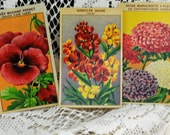 Three Vintage, French Flower Seed Package Labels, Beautiful Floral Designs With French Names #472  ok