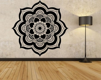 mandala wall decal version 2 flower namaste vinyl sticker art decor bedroom design mural flower buddha - Design Wall Decal