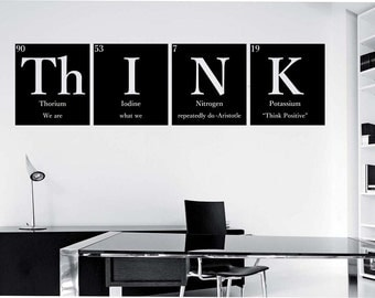"""THINK""""""""WITH QUOTE"""""""" Periodic Table Elements Vinyl Wall Decal Sticker Art Decor Bedroom Design Mural Science Geek nerd educational Aristotle"""