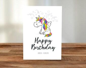 Personalised Happy Birthday Unicorn A5 Card