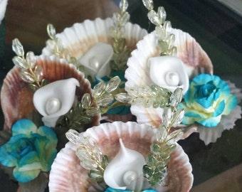 Sea shell Boutineer, Beach wedding, tulip sea shells boutineer , blue beach wedding