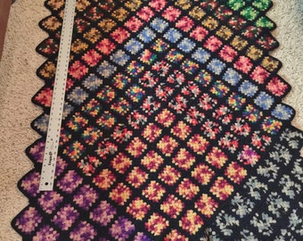Granny Square Crocheted Wool Afghan