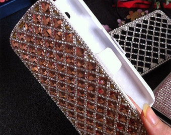 Stylish Luxury Bling Flip Slot Cards Holder Champagne Gems Wallet Leather Crystals Rhinestones Diamonds Fashion Cover Case for Mobile Phones