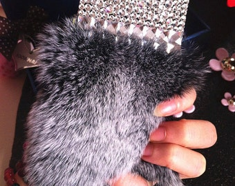 Gray Soft Fluffy Fur Furry Bling Luxury Lovely Fashion Sparkles Charms Glossy Crystals Rhinestones Diamonds Gems Hard Case for Mobile Phone