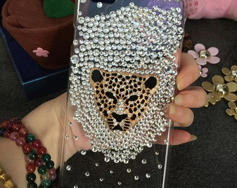 New Bling Sparkly Golden Leopard Mixed Gemstones Crystals Rhinestones Diamonds Fashion Gems Lovely Hard Cover Case for Various Mobile Phones
