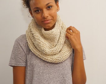 The Modified Peak - Warm and cozy knit infinity scarf/ cowl - wheat