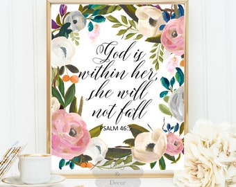 God is within her she will not fall Psalm 46:5 Bible verse Scripture art print typography wall decor office wall art print nursery decor