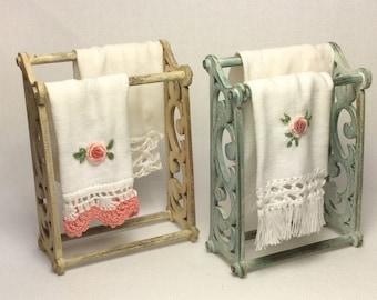 Shabby style rack for towels , with two embroidered towels, 1/12 scale hand-made