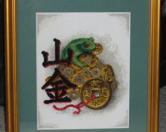 "Cross stitching picture ""Money toad"""