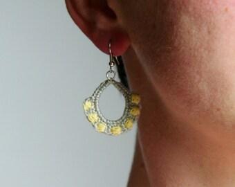 boho earrings - unique earrings - crochet earrings - dangle earrings - fiber art - hook earrings - fiber earrings - MudenoMade