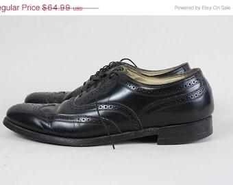 ON SALE Vtg Florsheim Black Leather Wingtip Oxford Shoes 10 C