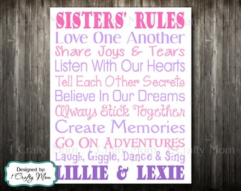 """Custom Personalized Digital Printable: """"Sisters Sister Rules"""" Wall Art Print Baby Gift Children Child Gift"""