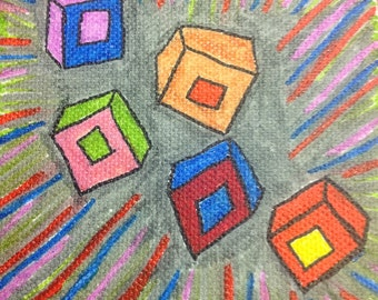 Abstract Squares 4x4 Canvas Art