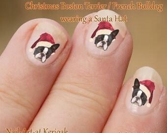 Christmas Boston Terrier Nail Art Stickers, Dog wearing a santa hat,  Dog Nailart, Nail Decals, great gift item French Bulldog