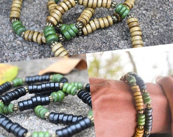 Men's Tribal Beaded Bracelet- Forest Green Accent Bead