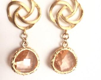 Gold Stud Earrings, Peach Earrings, Drop Dangle Earrings, Champagne Earrings, Modern, Flower Earrings, Crystal Earrings, Chanel Inspired