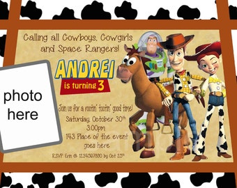 Toy Story Birthday Invitation, Digital (you print) With or Without Photo