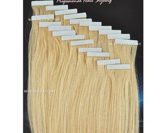 Beauties Factory Handmade Tape in Skin Weft 100% Remy Human Hair Extensions Color 613 Bleach Blonde