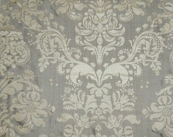 SILK LOOM FORTUNY Style Venetian Lotus Medallion Printed Silk Damask Fabric 10 Yards Silver Taupe Cream Beige