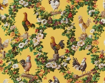 BRUNSCHWIG & FILS FRENCH Country Rooster Hens Chickens Medallions Printed Cotton Fabric 10 Yards Yellow Multi