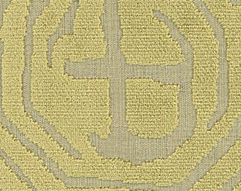POLLACK ASIAN CHINOISERIE Medallions Cut Velvet Fabric 10 Yards Green/Gold on Natural