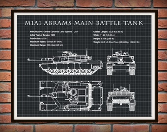 1980 M1A1 Abrams Main Battle Tank Designed for the US Military - Drawing Illustration - Poster Print - Soldier Wall Art - War Wall Art