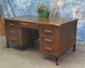 5' Oak Wood Desk School Teacher Office Vintage Mid Century Factory Cart Table b